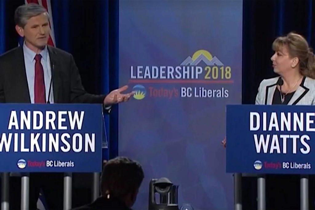 Vancouver-Quilchena MLA Andrew Wilkinson quizzes former Surrey-White Rock MP Dianne Watts on her first priorities if she wins the B.C. Liberal leadership, Jan 23, 2018. (Global TV)