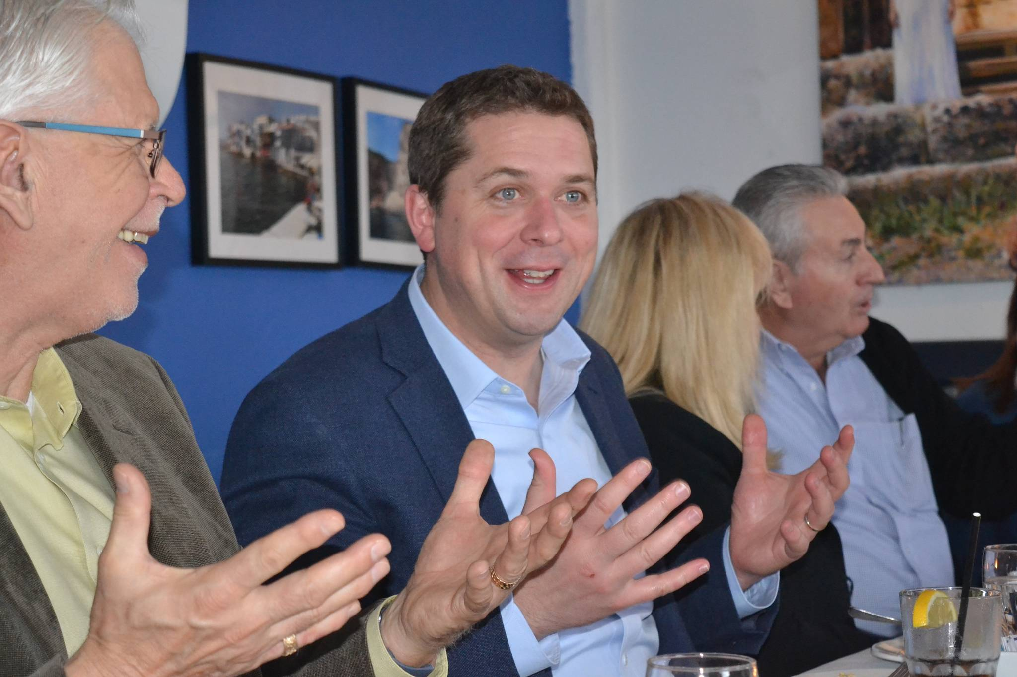 FILE – Conservative leader Andrew Scheer with business owners in White Rock in undated photo. (Alex Browne/Peace Arch News)