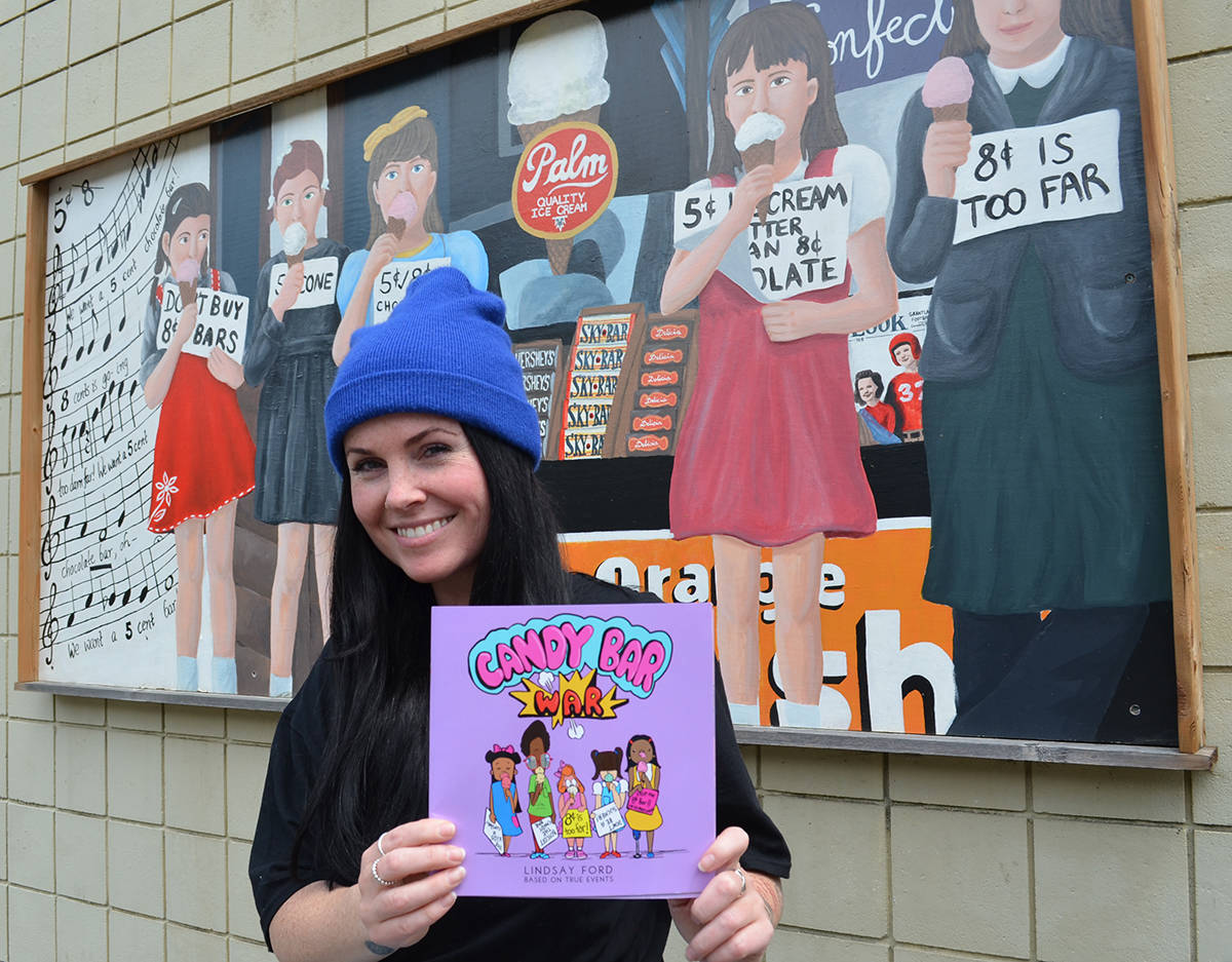 Nanaimo children's book author and illustrator Lindsay Ford's latest book, 'Candy Bar War,' recounts the time children protested the rising price of chocolate. A mural commemorating the protest is on display in Chemainus. (Photo courtesy Joseph Lyons)